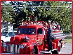 Kids Riding on the Fire Engine